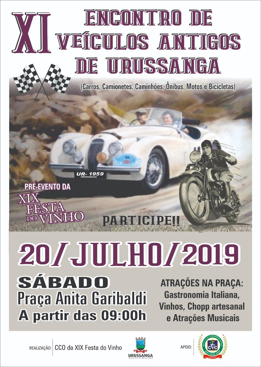 11º Encontro de Carros Antigos de URUSSANGA/SC dia 20 de julho de 2019