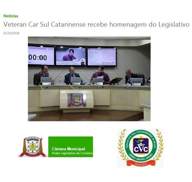 Veteran Car Sul Catarinense recebe homenagem do Legislativo Criciumense