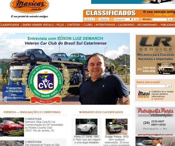 O renomado Portal Maxicar entrevista Edson Demarch, Presidente do Veteran Car Sul Catarinense ¨10 PERGUNTAS AO PRESIDENTE¨