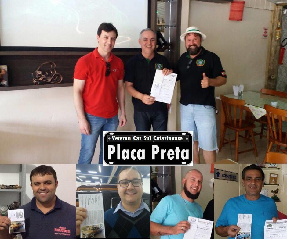 Veteran Car Sul Catarinense realizou a entrega dos cinco primeiros certificados de originalidade (Placa Preta) do clube domingo dia 01 de outubro de 2017.