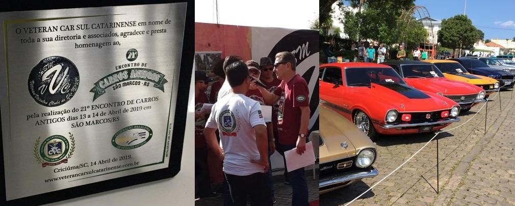 O Veteran Car Sul Catarinense prestigia o 21° ENCONTRO DE CARROS ANTIGOS DE SÃO MARCOS/RS realizado dias 13 e 14 de abril de 2019.