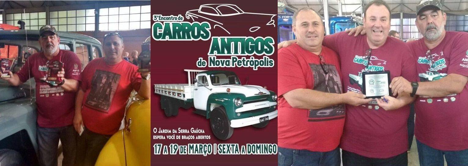 O Veteran Car Sul Catarinense participou e faturou dois prêmios destaque no 3° ENCONTRO DE CARROS ANTIGOS DE NOVA PETRÓPOLIS/RS realizado dias 17, 18 e 19 de março de 2017.