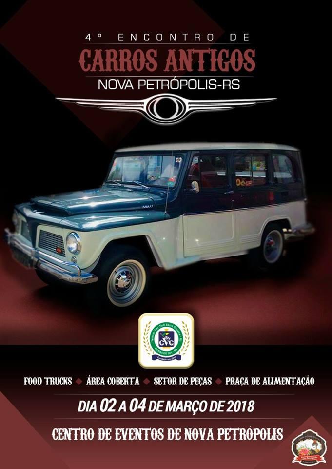 4º Encontro de Carros Antigos de NOVA PETRÓPOLIS/RS de 02 a 04 de março de 2018.