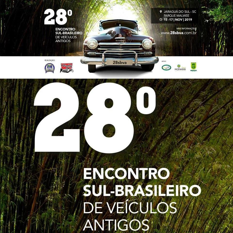 28° Sul Brasileiro de Veículos Antigos 2019 de 15 a 17 de novembro em Jaraguá do Sul/SC