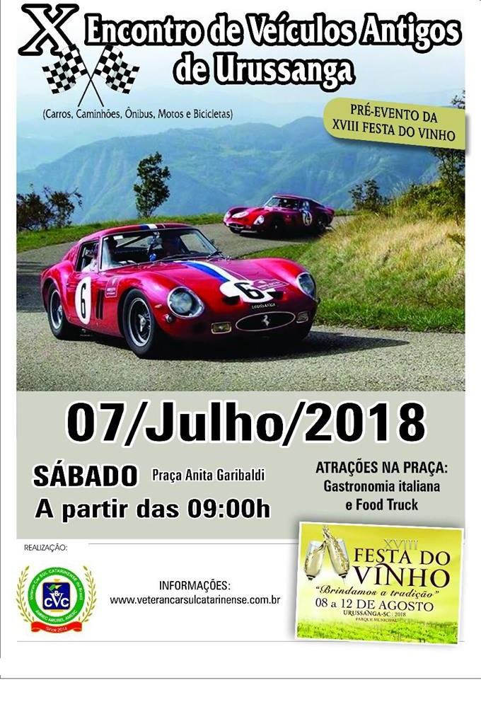 X Encontro de Veiculos Antigos de URUSSANGA/SC sábado dia 07 de julho de 2018